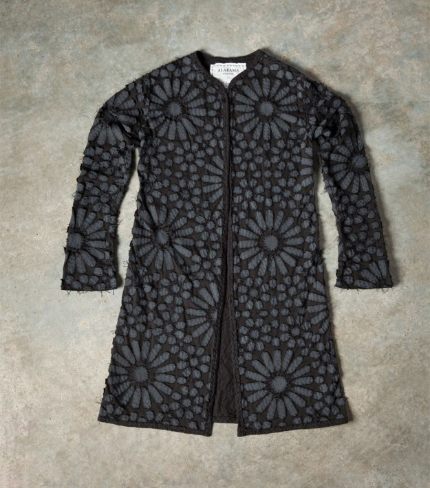 Alabama Chanin black embroidered coat