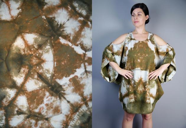 khaki shibori bubble dress