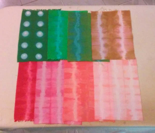 hand dyed test swatches for dress