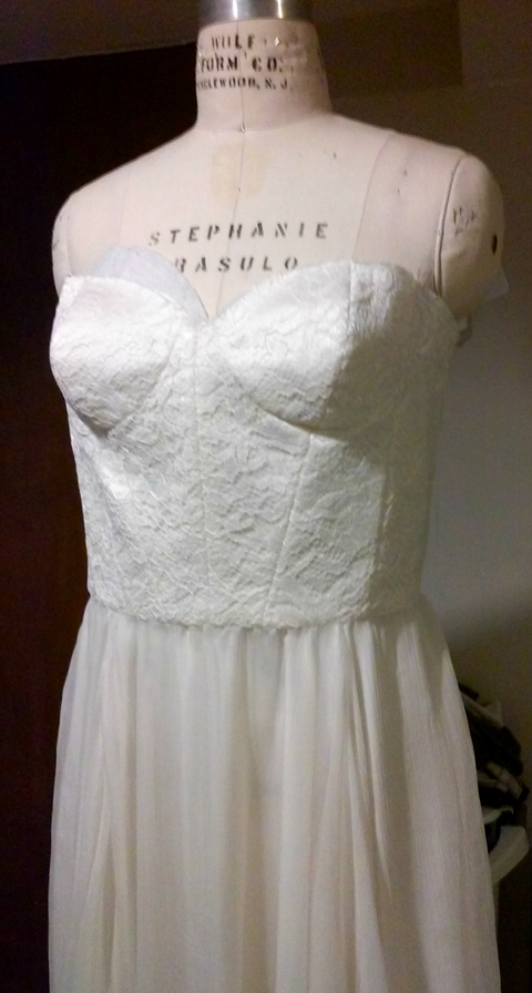 wedding dress in progress