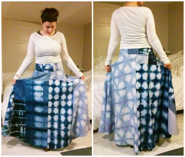 shibori patchwork skirt