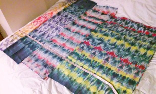 rainbow shibori scarves