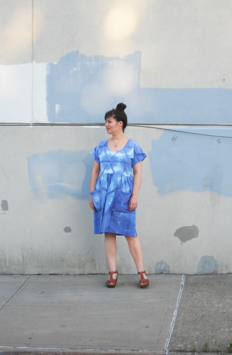 blue shibori dress with pockets