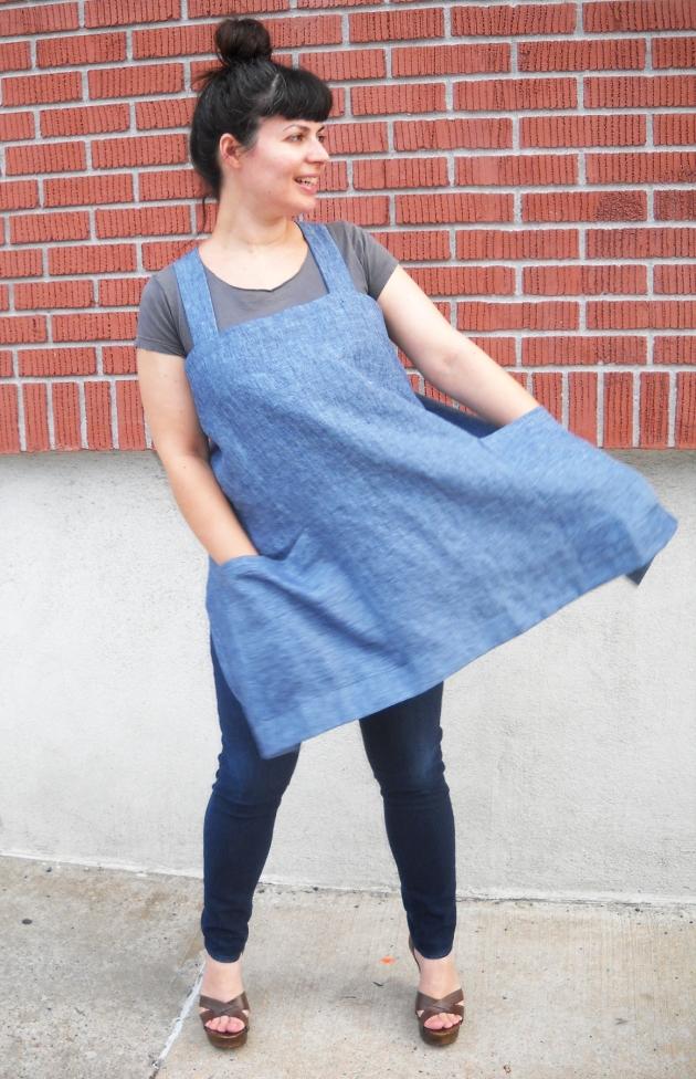 linen crossback apron