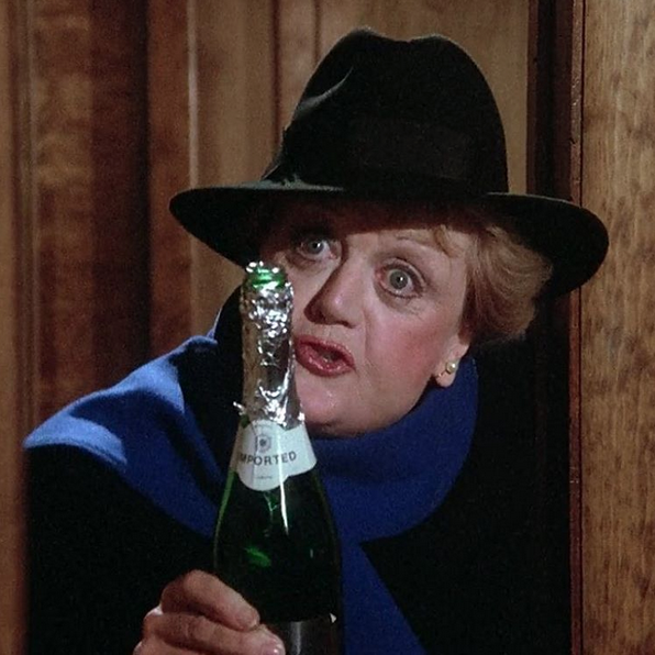 Jessica Fletcher drinking champagne