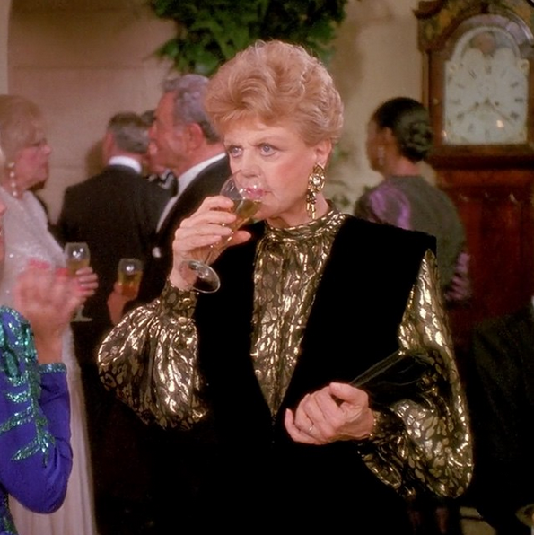 Jessica Fletcher drinking wine
