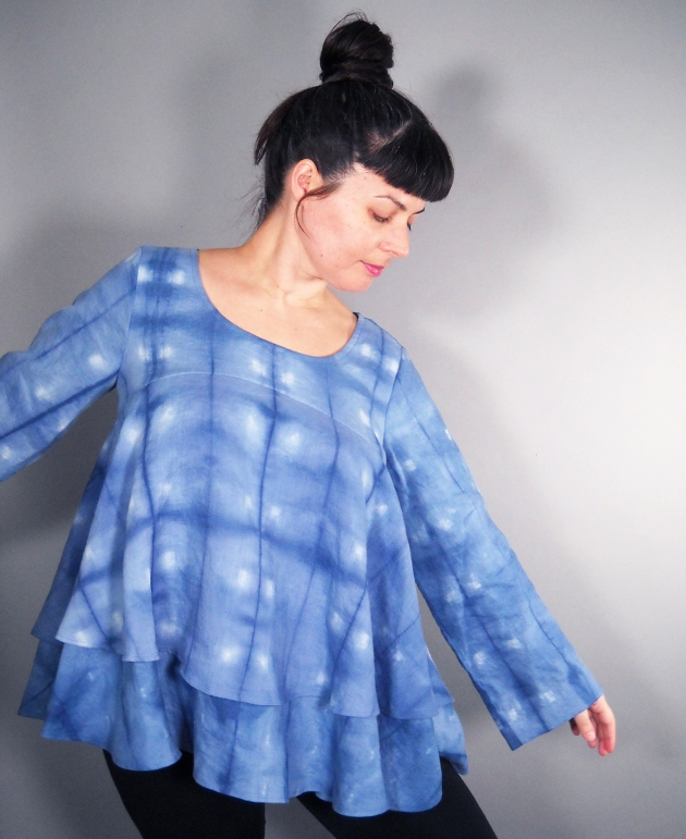 blue linen shibori top